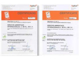 Certificación internacional en reciclado y tratamiento de residuos.
