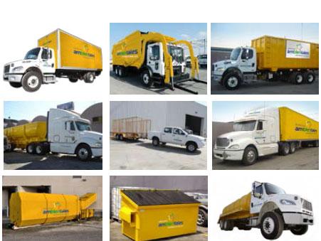 Camiones y contenedores para recolección de desechos, basura, residuos, material de reciclaje.